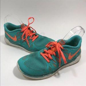 Nike Free Run 5.0 Teal Orange Running Sneakers